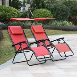 Winsome House Zero Gravity Lounge Chair with Canopy - Set of 2