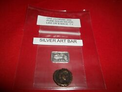 Authentic Ancient Roman 1 Coin with 1 gram .999 Fine Solid Silver Mini Art-Bar