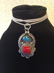 Vintage Sterling Silver Turquoise & Coral Pendant on Italy Coreana Chain