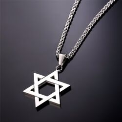 Star of David Pendant amp; Necklace Chain Stainless Steel Israel Jewish NEW $13.99