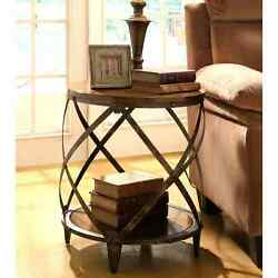 Magnison Distressed Brown WoodMetal Drum-shape Accent Table