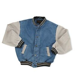 Men#x27;s Washed Vintage Denim Varsity Jacket $36.95