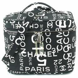 Auth CHANEL Bai She Line 2Way Shoulder Vanity Hand Bag Canvas 90043219