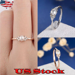 18K Rose Gold Silver Plated Round Cut White Pearl Women Wedding Ring Size 6-10