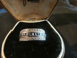 Exquisite Art Deco Quality Solid PlatinumSapphire & Diamond Night & Day Ring