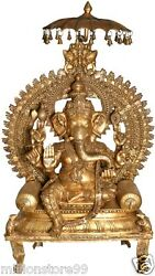 Master Large Ganesha Bless On Throne Wealth Statue 63
