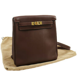 Authentic HERMES KELLY ADO PM RETOURNE Backpack Brown Leather GHW GOOD GS00776