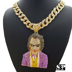 Hip Hop Large JOKER Pendant amp; 18quot; Full Iced Miami Cuban Choker Chain Necklace $48.45