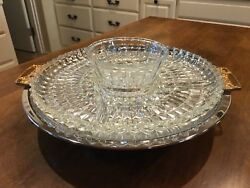 Vintage Kromex Chrome Plated Platter & Glass and Lazy-Susan Tray Brass Handles