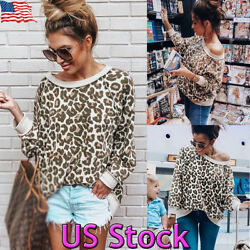 US Womens Long Sleeve Leopard Print Shirt Casual Blouse Tops T-shirt Pullover