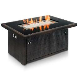 Outdoor propane gas fire pit tabletempered tabletop glass and wicker black