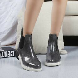 Women Platform Rain Boots High Top Waterproof Rubber Shoes Slip-Resistance Flat