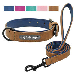 Leather Dog Collars for Large Dogs Personalized Leash Prime Engraved Soft Padded $20.49