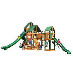 Cedar with Timber Shield and Sunbrella Canvas Forest Green Canopy Playset