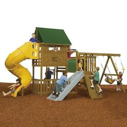 Brown Wood Ready to Assemble Great Escape Gold Playset with Heavy Duty Vinyl