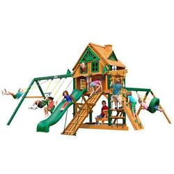 Cedar 132-in H Frontier Treehouse with Fort Add-On and Timber Shield Playset