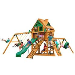 Brown Cedar Frontier Treehouse 800-lb Playset with Fort Add-On and Amber Posts