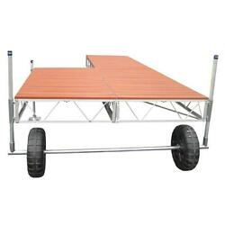 Brown 32 ft. Modular Patio Roll-In Boat Dock with Aluminum Truss Frame Decking