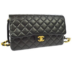 Auth CHANEL Quilted CC Logos Chain Backpack Bag Black Leather Vintage GHW O01845