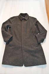Burberry Grey 100% Cashmere Hidden Button Up Trench Coat Jacket Mens 50R Large