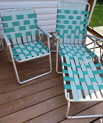 PAIR VINTAGE ALUMINUM FOLDING LAWN CHAIRS PATIO CAMPING GREEN WHITE WEBBING