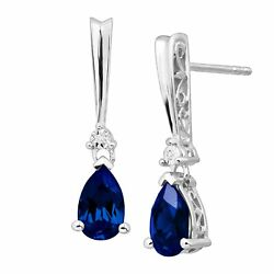 2 13 ct Created Ceylon Sapphire Earrings with Diamonds in Sterling Silver
