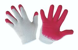 Red Palm Dipped Cotton Gloves - Size L (24 pairs)