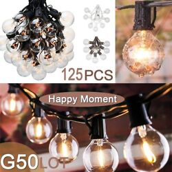 1250 pcs  Patio Party String Light Clear Bulb 100FT G50 Outdoor Garden Globe AQ