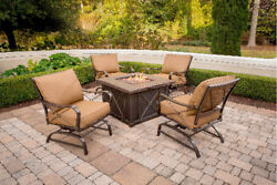 5Pc Metal Patio Fire Pit Seating Set Cushioned Rockers & Table Outdoor Furniture