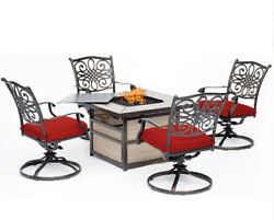5Pc Fire Pit Chat Set Outdoor Patio Metal Swivel Cushined Chair Table Furniture