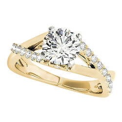 2.00 Ct Round Cut Diamond Solitaire Criss Cross Engagement Ring 10k Yellow Gold