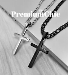 Mens Womens Stainless Steel Figaro Chain Necklace w Cross Pendant Silver Gold BK $11.27