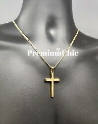 Mens Womens Stainless Steel Gold Figaro Chain Necklace w Cross Pendant