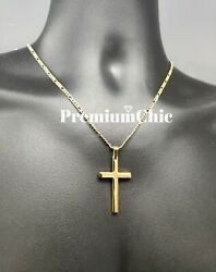 Mens Womens Stainless Steel Gold Figaro Chain Necklace w Cross Pendant Jewelry $11.39