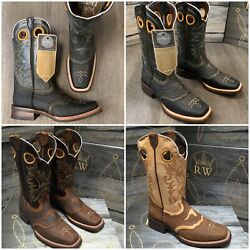MEN#x27;S RODEO COWBOY BOOTS GENUINE LEATHER WESTERN SQUARE TOE BOOTS BROWN BOTAS $69.99