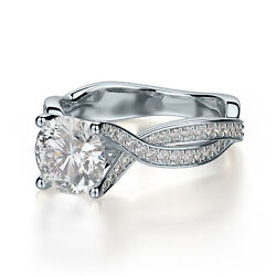 5.00 Ct Round Cut Diamond Solitaire Criss Cross Engagement Ring 10k White Gold