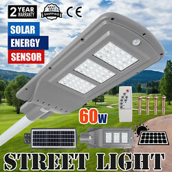 Outdoor Commercial 60W LED Solar Street Light IP65 Dusk to Dawn PIR Sensor Lamp
