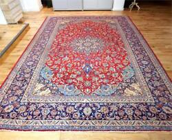 Antique Isfahan Persian Carpet - 4.19 x 3.02m - Very Large - Blue