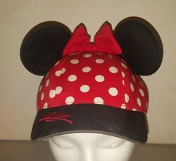 DISNEYLAND RESORT MINNIE MOUSE POLKA DOT EAR YOUTH KIDS SNAP BACK HAT RED BLACK $14.00