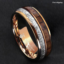 86mm Rose Gold Dome Tungsten Ring Silver Koa Wood Inlay Bridal ATOP Men Jewelry