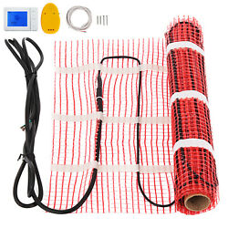 35 sqft Electric Tile Radiant Warm Floor Heated Kit Mat With Thermostat 120V $134.89