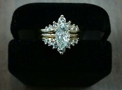 1.75 carat Diamond Marquee Ring and Tiara Style Guard Set in Yellow Gold