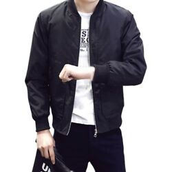 Mens Fashion Casual Bomber Jacket Warm Winter Baseball Coat Slim Fit Outwear
