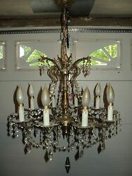 Vintage Chandelier Brass Bronze amp; Crystal Made in Spain 10 Lights $355.00