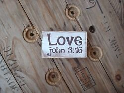 Love John 3:16 wooden sign. Great gifts under 10. Rustic home decor. $27.00