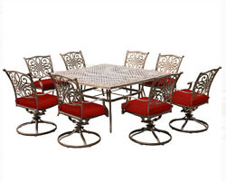 Cast-Aluminum Frame Outdoor Furniture 8 Red Cushion Swivel Chairs