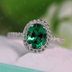 3.00 Ct Green Cut Emerald & Diamond Halo Engagement  Ring 14k White Real Gold