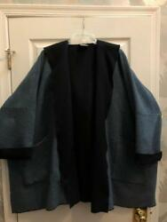 Eskandar $2490 Size 1 1x 2x Navy 2 Tone Wool Cashmere Hooded Coat $2490