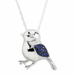 Created Sapphire Birdie Pendant with Diamond in Rhodium-Plated Sterling Silver
