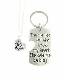 There Is This Girl She Stole My Heart She Calls Me DADDY - Heart Dog Tag And Key
